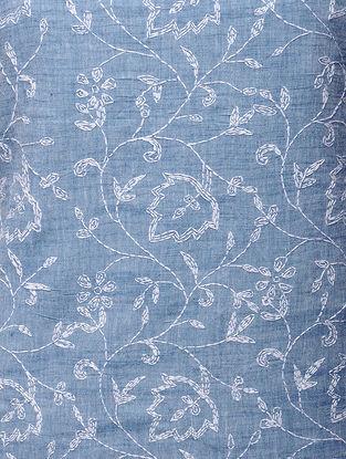 Blue-White Chikankari Handloom Khadi Blouse Fabric by Jaypore