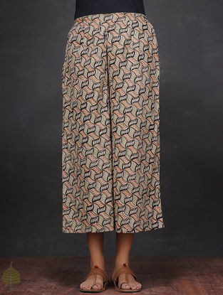 Black-Rust Elasticated Waist Cotton Culottes by Jaypore