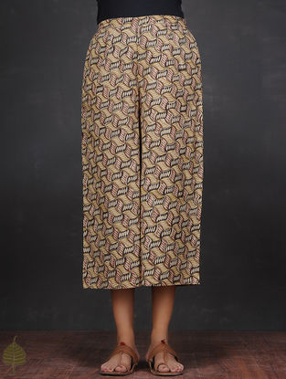 Black-Green Elasticated Waist Cotton Culottes by Jaypore
