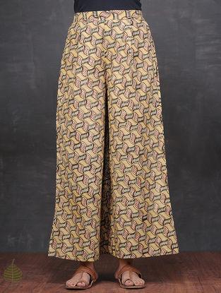 Yellow-Pink Kalamkari-printed Elasticated Waist Cotton Palazzos by Jaypore