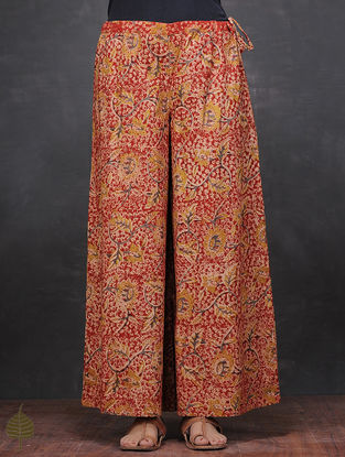 Red-Mustard Kalamkari-printed Tie-up Waist Cotton Palazzos by Jaypore