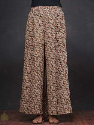 Ivory-Black Kalamkari-printed Elasticated Waist Cotton Palazzos by Jaypore