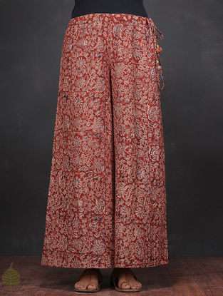 Red-Blue Kalamkari-printed Tie-up Waist Cotton Palazzo by Jaypore
