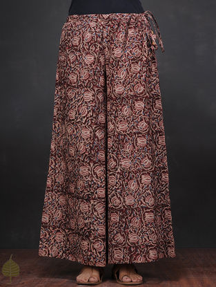 Maroon-Ivory Kalamkari-printed Tie-up Waist Cotton Palazzos by Jaypore