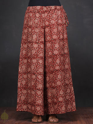 Red-Ivory Kalamkari-printed Tie-up Waist Cotton Palazzos by Jaypore