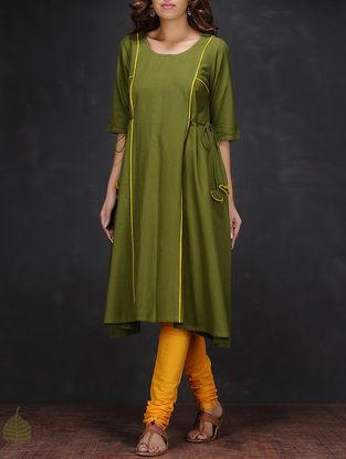 Green Round Neck Handloom Cotton Kurta by Jaypore