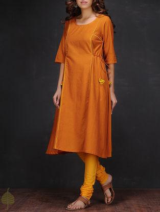 Orange Round Neck Handloom Cotton Kurta by Jaypore