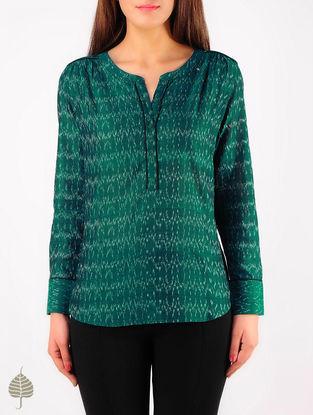 Green - Ecru Hand woven Ikat Cotton Top by Jaypore
