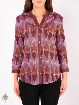 Maroon - Taupe Hand woven Ikat Cotton Top by Jaypore