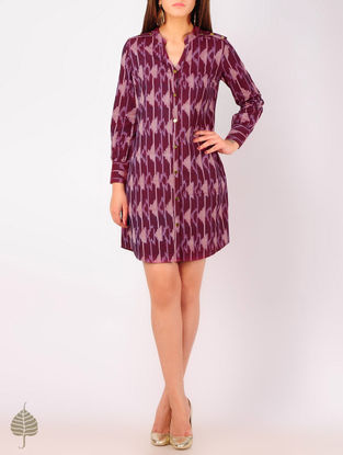 Burgundy - Peach Ikat Button Detailed Cotton Tunic by Jaypore
