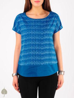 Blue - Ecru Hand woven Ikat Cotton Top by Jaypore