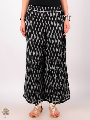 Black - Grey Hand woven Ikat Tie-Up Waist Cotton Palazzos by Jaypore