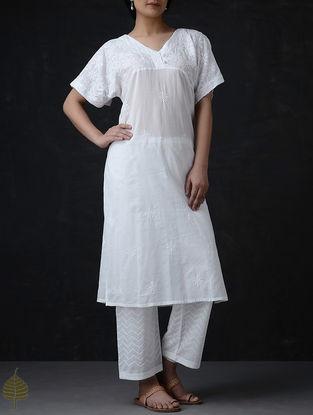 White Chikankari Cotton Kurta by Jaypore