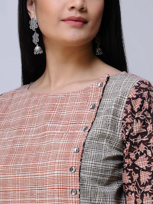 Beige-Madder Block-printed Cotton Kurta by Jaypore