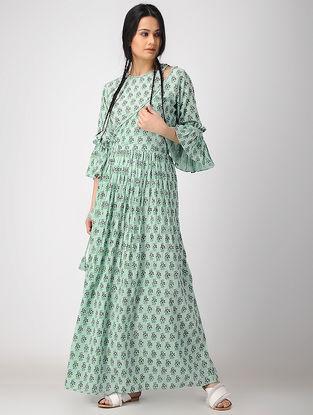 Green Hand Block-printed Rayon Crepe Wrap Dress