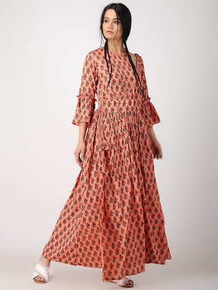 Peach Hand Block-printed Rayon Crepe Wrap Dress
