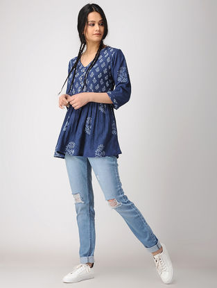 Blue Hand Block-printed Cotton Crepe Top with Gathers