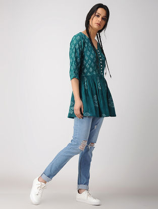 Green Hand Block-printed Cotton Crepe Top with Gathers
