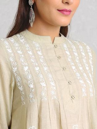 Beige-White Chikankari Handloom Khadi Kurta by Jaypore