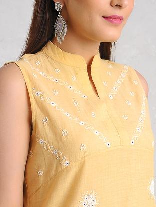 Yellow-White Chikankari Handloom Khadi Kurta by Jaypore