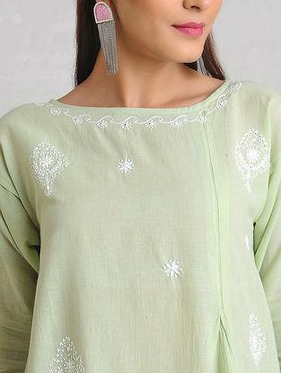 Green-White Chikankari Handloom Khadi Kurta by Jaypore