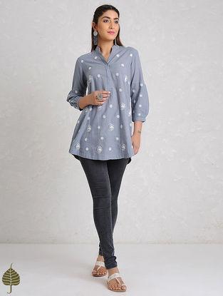 Blue-White Chikankari Handloom Khadi Top by Jaypore
