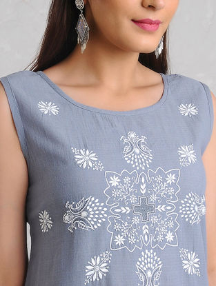 Blue-White Chikankari Handloom Khadi Kurta by Jaypore