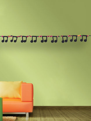 Multicolored Handcrafted Dori Bunting with Music Note Designs (37in x 2.2in)