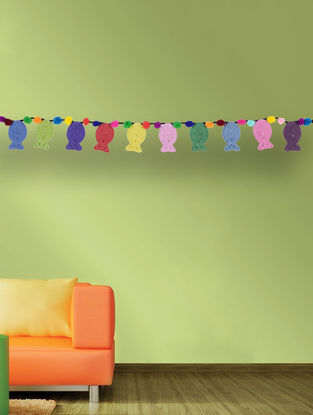 Multicolored Handcrafted Dori Bunting with Fish Design (34in x 1.7in)