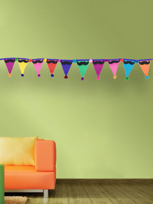 Multicolored Handcrafted Dori Bunting with Moustache Design (35in x 2.5in)