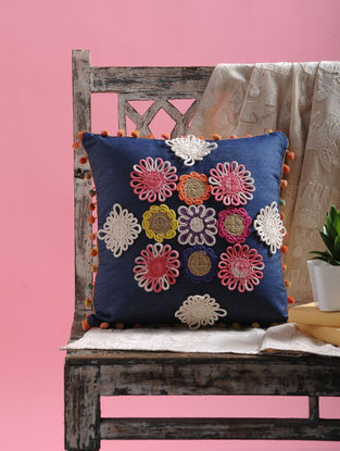 Multicolored Floral Dori Embellishment Denim Cushion Cover with Pom-pom (15.5in x 15.5in)