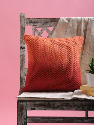 Rust Ombre Net Cushion Cover with Dori (15.5in x 15.5in)