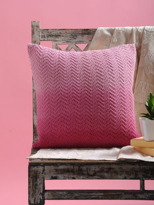 Pink Ombre Net Cushion Cover with Dori (16in x 16in)