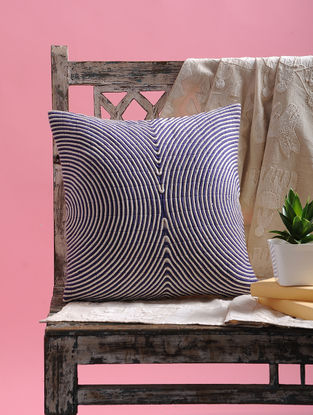 Blue-White Cotton Cushion Cover with Dori (15.5in x 15.5in)