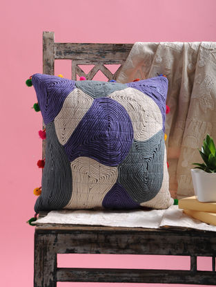 Blue-White Cotton Cushion Cover with Dori and Pom-pom (15in x 15in)