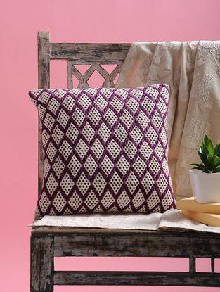 Purple-White Dori Embellished Net Cushion Cover (15.5in x 15.5in)