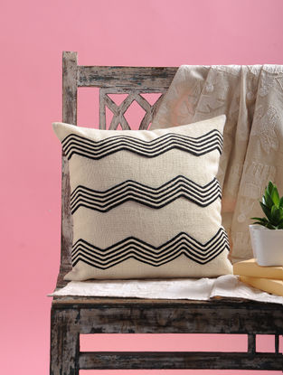 White-Black Dori Embellished Jute Cushion Cover with Boat Design (15.5in x 15.5in)