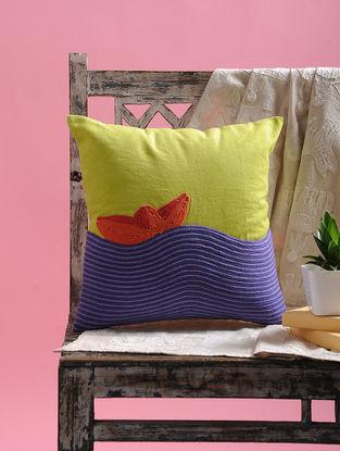Multicolored Dori Embellished Jute Cushion Cover (15.5in x 15.5in)