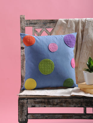 Blue-Multicolored Dori Embellished Cotton Cushion Cover (15.5in x 15.5in)