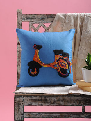 Blue-Multicolored Dori Embellished Cotton Cushion Cover with Scooter Design (15.5in x 15.5in)