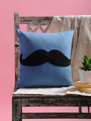 Blue-Black Dori Embellished Cotton Cushion Cover with Mustachio Design (15.5in x 15.5in)