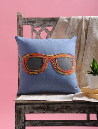 Multicolored Dori Embellished Cotton Cushion Cover Spectacle Design (15.5in x 15.5in)