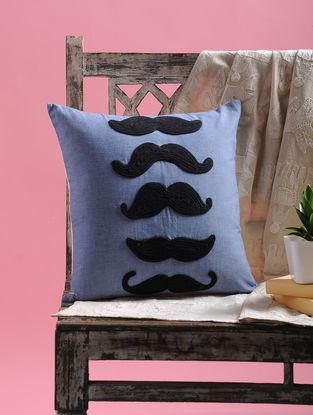 Blue-Black Dori Embellished Cotton Cushion Cover Mustachio Design (15.5in x 15.5in)