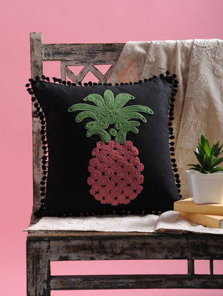 Black-Multicolored Dori Embellished Cotton Cushion Cover with Pom-pom and Pineapple Design(15.5in x 15.5in)