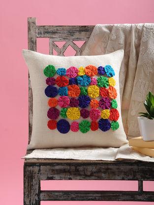 White-Multicolored Dori Embellished Jute Cushion Cover (15.5in x 15.5in)