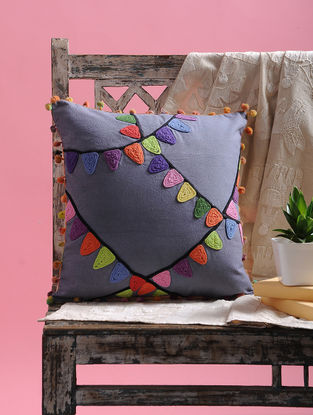 Multicolored Cotton Cushion Cover with Pom-pom (15.5in x 15.5in)