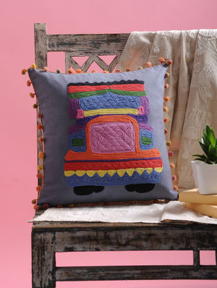 Multicolored Cotton Cushion Cover with Pom-pom and Truck Design (15.5in x 15.5in)