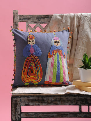 Multicolored Cotton Cushion Cover with Pom-pom and Puppets Design (15.5in x 15.5in)