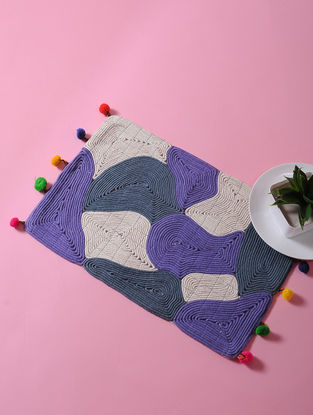 Multicolored Dori Embellished Cotton Place Mat with Pom-pom (17in x 11in)