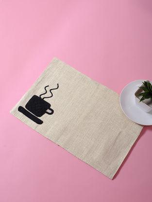 White-Black Dori Embellished Jute Place Mat with Coffee Mug Design (17in x 11in)